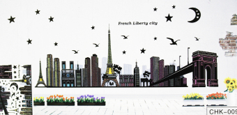 Harga Wallmark French Liberty City Fashion Wall Sticker