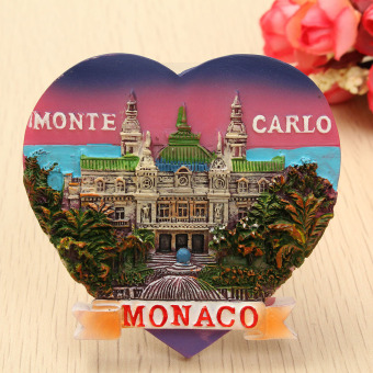 Harga Monaco Monte Carlo - 3D Resin Heart-shaped Tourist Travel Souvenir Fridge Magnet NEW - intl