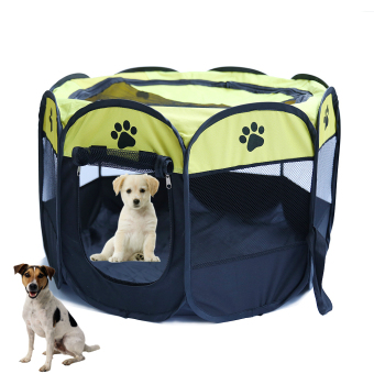 Harga Pet Do g Bed Kennel Play Pen Soft Playpen Cage Folding Crate Yellow (Size:L)