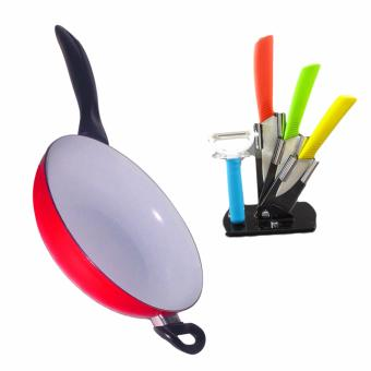 26cm Non-Toxic Ceramic Coating Deep Frying Pan with Ceramic Knife and Peeler Set with Stand Price Philippines