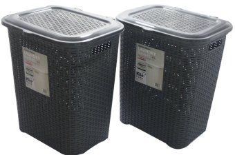 Klio Laundry Basket Woven Style with cover 0306 Set of 2 (Grey) Price Philippines