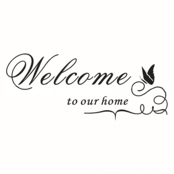 Harga Butterfly Welcome to Our Home Vinyl Wall Art Decal Quote Home Decor Wall Sticker- - intl