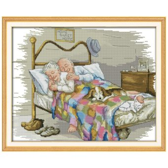Harga The Old Married Couple Counted Cross Stitch 11CT Printed DMC Cross Stitch Set DIY Cross-stitch Kits Embroidery Needlework - intl
