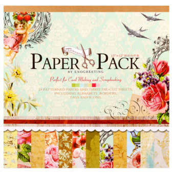Harga INSPIRE 24 Patterned Papers & Die-cut Sheets Creative Floral Scrapbooking Paper Pack #03