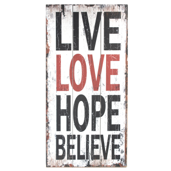 Harga Wallmark Live Love Hope Believe Wooden Poster