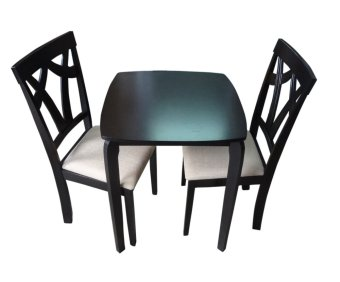Harga Hapihomes Trixie 2-Seater All Wood Dining Set (black)