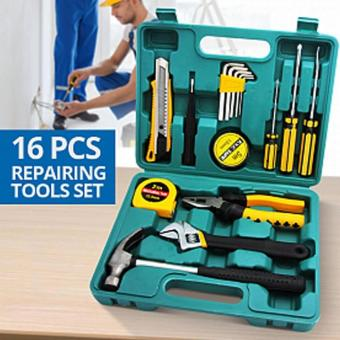 Harga 16pcs Professional Hardware Tools Set Accessory Repair Home Tool-Box Kits Case KS8016 (Green)