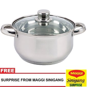 Harga Masflex 24cm Stainless Steel Casserole Pot (Silver) with Free Surprise From Maggi Sinigang