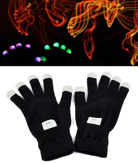 Harga Toprank LED Rave Flashing Gloves Glow 7 Mode Light Up Finger Lighting Black - intl
