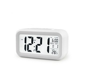 Harga niceEshop Silent LED Alarm Clock with White Night Light Date Temperature (White)