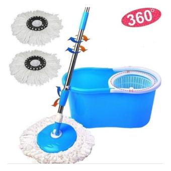 Harga Easy Life Easy Magic Mop 360 Degree Rotating Fast Spin Dry 2 Mop Heads (Blue)
