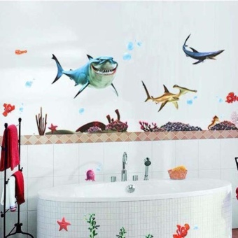 Harga Removable Cartoon Fishes Quote Decal Mural Room Decor Home Wall Sticker - intl