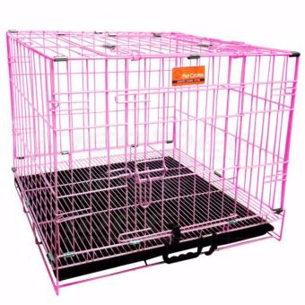 Harga Pet Crates EL-1.5 Foldable Dog Cage w/ Plastic tray (Pink)