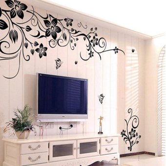 Harga Hee Grand Removable Vinyl Wall Sticker Mural Decal Art - Flowers and Vine Black