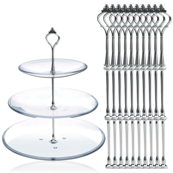 Harga Amart 10pcs 3 Tier Cake Plate Crown Stand Fittings Wedding Party Plate