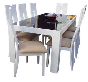 Harga Hapihomes Snow White Madi 8-Seater Dining Set Glass Top (All White)