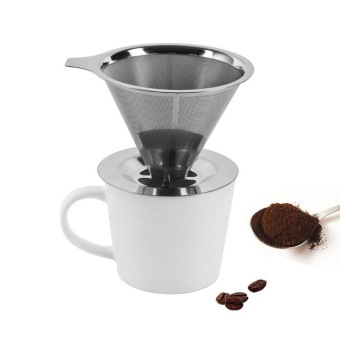 Harga Modern Fashionable Stainless Steel Metal Coffee Dripper Pour Over Coffee Maker Reusable Coffee Filter Single Cup Coffee maker