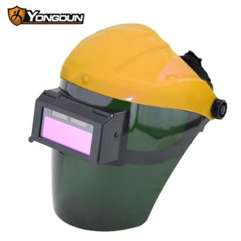 Harga New Solar Auto Darkening Welding Helmet Arc Tig Mig Grinding Welders Mask Anti-radiation Yellow - intl