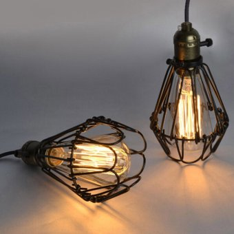 Harga Rural retro twist wire cage hanging lamp shade (without light)