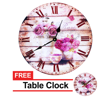 Harga Wallmark Roses Wooden Wall Clock With FREE Table Clock
