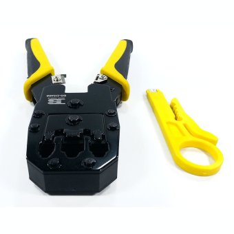 Harga BOSI Tools Professional Grade Modular Plug Crimping Tool 4P 6P 8P With BUNDLED Wire Stripper Tool (Black/Yellow)
