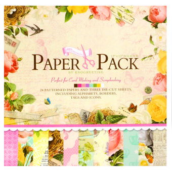 Harga INSPIRE 24 Patterned Papers & Die-cut Sheets Creative Floral Scrapbooking Paper Pack #04