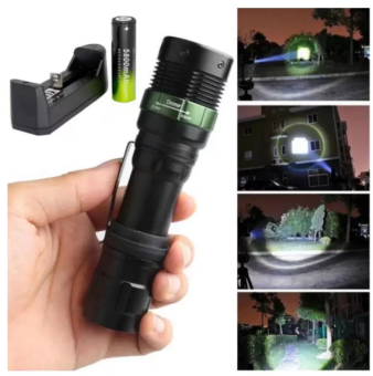 Harga T6 LED Torches Torch Zoomable Flashlight 5 Fashion+Charger +Battery