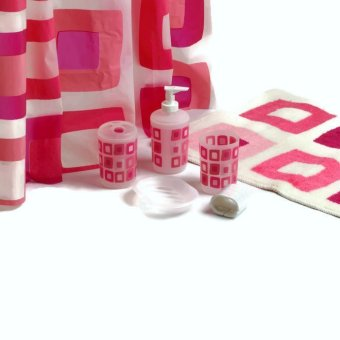 Harga Aspire Nostalgia in Pink Bath 7-piece Set (Lotion Dispenser, Toothbrush Holder, Tumbler, Soap Tray, Bath Mat, Shower Curtain with Shower Hook)