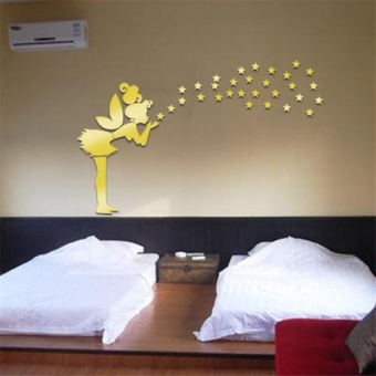 Angel Magic Wall Sticker 3D Mirror Kids Bedroom Decoration - Gold - intl Price Philippines