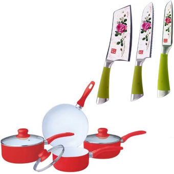 Ceramic Pan Set of 7 (Red) With Stainless Steel Non Stick Ceramic Knife Set of 3 Price Philippines