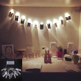 Harga Amart 1.2M 10 LED Card Photo Wall Clip Fairy String Light Home Christmas Decoration Battery Operated Lamps - intl