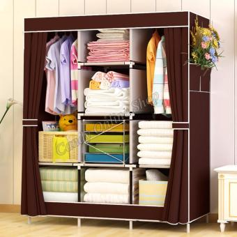 Harga Fashion Large Size Quality Multifunctional Wardrobe Storage Lockers 77130 (Coffee)