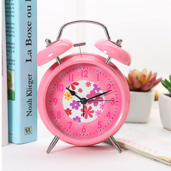 Harga XI YOYO 4 Inch Student Bed Creative Metal Personality Silent Night Light Small Alarm Clock(Blush Pink)