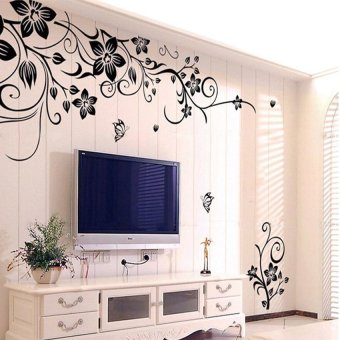 Harga Removable Vinyl Wall Sticker Mural Decal Art Flowers and Vine Black