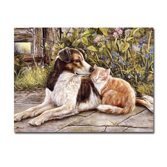 Hyper-drive 80X60CM Oil Paintings a Dog falling in love with a Cat Printed Artwork Wall Art Home Decor Frameless - Intl Price Philippines
