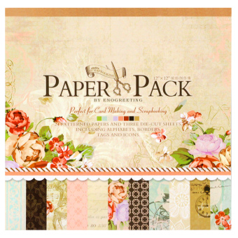 Harga INSPIRE 24 Patterned Papers & Die-cut Sheets Creative Floral Scrapbooking Paper Pack #05