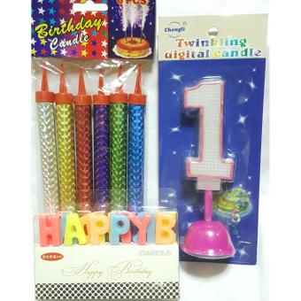 Harga Birthday Candle, fireworks and music no.1 Candle (Pink) set