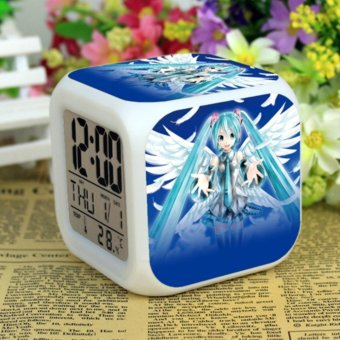 Harga Hatsune Miku Alarm Clock Digital Klokken Electronic Desk Watch Wake Up Light Plastic LED 7 Color - intl