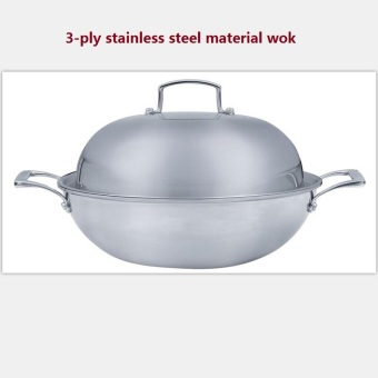 wok 3-ply thicking inox cooking pan 32cm luxury top quality non-stick non smoke cookware Price Philippines