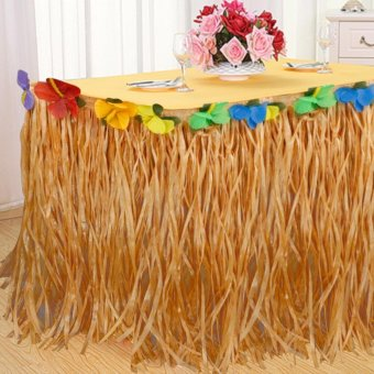 Harga Good Service 9ft Tropical Hawaiian Luau Table Grass Skirt with Flower BBQ Party Decorations - intl