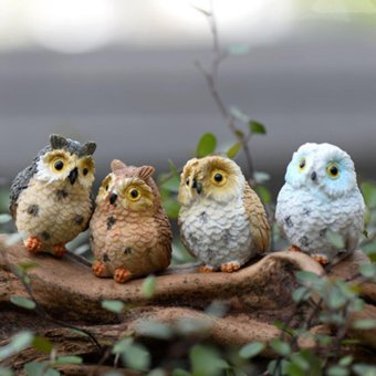4pcs Cute Animal Resin Owls Miniatures Figurine Craft Bonsai Pots Home Fairy Garden Ornament Decoration Moss Terrarium Decor - intl Price Philippines
