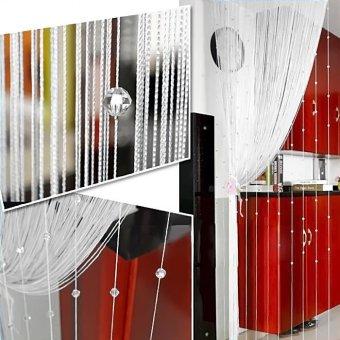 Imitation Crystal Beaded Tassel String Curtain Door Window HomeDecor Divider 1 x 2M White - intl - 2