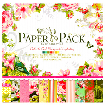 INSPIRE 24 Patterned Papers & Die-cut Sheets Creative FloralScrapbooking Paper Pack #09