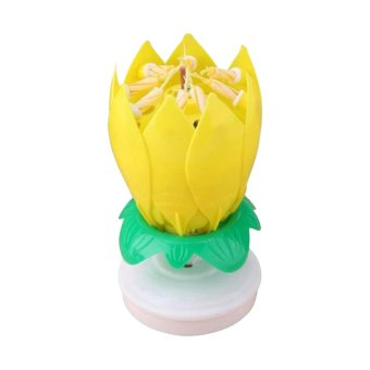 J&J Musical Lotus Flower Rotating Birthday Candle Light(Yellow) Price Philippines