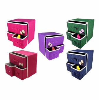 J&J New Folding 3 Drawer Fabric Storage Box Organizer Set of 2 - 3