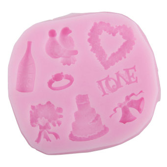 JIANGYUYAN Heart and Bird Party Fondant Molds Silicone Mold Sugarcraft Mold Bakeware Chocolates Mold,Random Color (Intl)