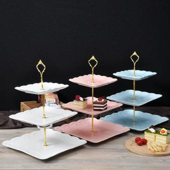 jingot 2 Or 3 Tier Crown Wedding Party Birthday Cake Plates Stand Centre Handle Fitting Rod (Golden)