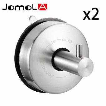 JOMOLA 2PCS Powerful Vacuum Suction Cup Hanger Stainless Steel Towel Hook Holder for Bathroom & Kitchen & Window