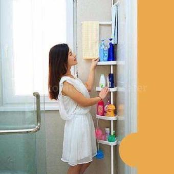 KAIDI 4 layes Adjustable Bathroom Corner Pole Caddy Shower Organizer(white)