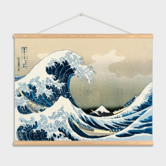 Kanagawa Waves Japanese Ukiyo-style decorative painting living roomrestaurant Entrance Painting Wall paintings Scroll mural - intl